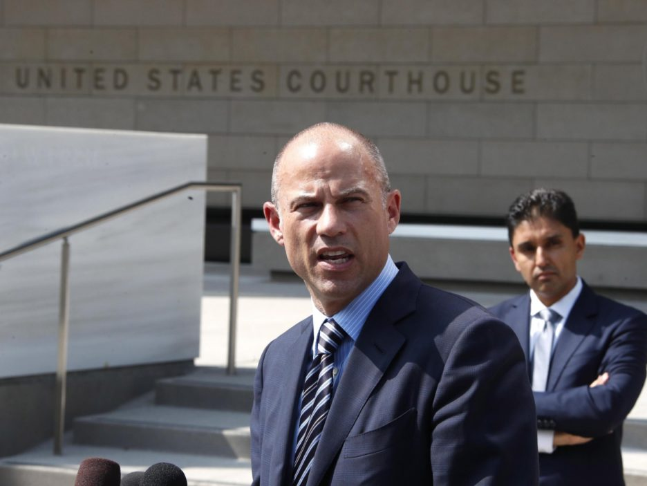 Adult actress Storm Daniel's attorney Michael Avenatti talks to the media